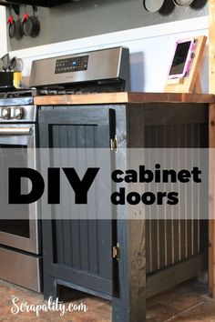 DIY Cabinet Doors for kitchen cabinets using beadboard and spare wood