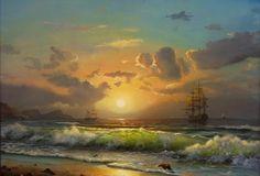 картина, живопись, море, корабли, парусник, небо, закат, пляж, волна, красиво, солнце, горы