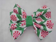 "New Fabric Hair Bow with Alligator Clip Mint Candies Handmade NEW! 3""x3"" #Handmade"