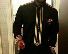 embroided african shirt/ African men's shirt/ by PageGermanyShop African Inspired Fashion, African Print Fashion, Africa Fashion, African Attire, African Wear, African Style, African Dress, African Clothing For Men, African Shirts