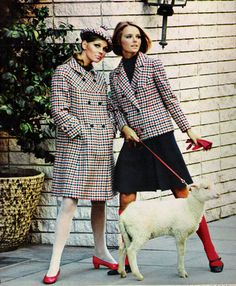 Cheryl Tiegs in colourful coordinates in Seventeen magazine, November 1967. That lamb on a leash tho.