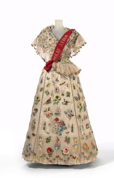 1890s?  Victorian White dress covered in floral embroidery
