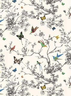 Entryway Wall - Four Design Options - Addicted 2 Decorating®  Schumacher Birds and Butterflies wallpaper