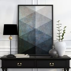 Black And White Geometric Art Black And White Wall by WordKitty