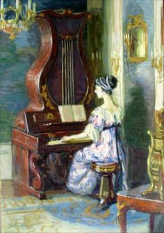 ♪ The Musical Arts ♪ music musician paintings - Christian von Schneidau   Young Woman Playing An Organ