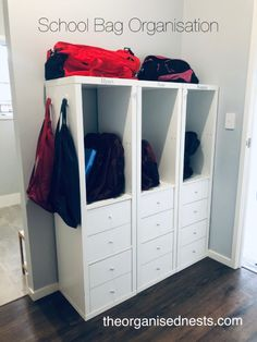 Creating an Organised, Beautiful and Smart Life School Bag Organization, School Bag Storage, Toy Room Organization, Backpack Organization, Home Organisation, Kids Storage, Kids Cubbies, Home Command Center, Backpack Storage