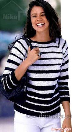 Женский вязанный спицами пуловер отлично подойдет для полных. Модель 2014 года покроя реглан связана сверху вниз, доступна для начинающих вязальщиц.