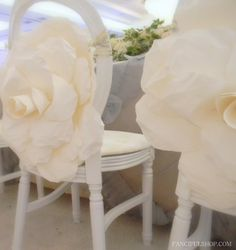 Paper Flowers: Wedding Party Seats with Huge Roses - Quality, Handmade Paper Flowers