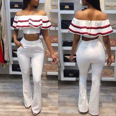Contrast Binding Frilled Off Shoulder Cropped Flares Pantsuit