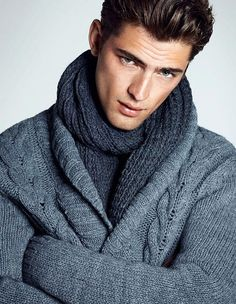 Sean O'Pry in grey braid-pattern sweater & charcoal scarf w/ gelled short dark, highlighted hair Sean O'pry, Fashion Moda, Look Fashion, Men Fashion, Winter Fashion, Fashion Menswear, Sharp Dressed Man, Well Dressed Men, Look Man