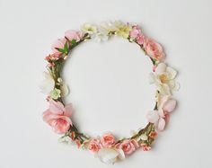 Silk Flower Crown in Peach with Peach by blueorchidcreations