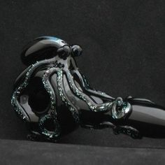 Octopus Hand Blown Dichroic Glass Pipe from andromedaglassArtfire