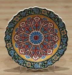 Turkish Traditional Hand made ,Hand Painted iznik Ceramic Floral Design Green Lotus Flower Hanging Plates, Plates On Wall, Turkish Plates, Shops, Lotus Flower, Decorative Bowls, Floral Design, Wall Decor, Hand Painted