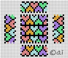 Hearts box perler bead pattern