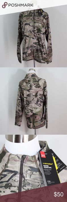 New Under Armour Womens Camp Camo Half Zip Jacket Under Armour Womens Camo Camp ColdGear Half Zip Pullover  Pullover  New  Geen Camouflage  The size is Large  Measurements are:  21.5 inches underarm to underarm 28 inches shoulder to bottom 30.5 inches neck seam to cuff  Polyester  Fitted  Check out my other items in my store!  L1 Under Armour Jackets & Coats