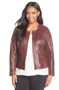Sejour Embossed Leather Jacket (Plus Size) available at #Nordstrom