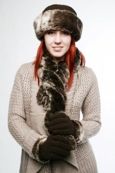 Ladies warm One Size up to 57cm Faux Fur and fleece Crown Hat, Twisted collar scarf and glove winter set by satsuma