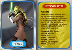 Kit Fisto was a renowned male Nautolan Jedi Master in the waning years of the Galactic Republic. During the Clone Wars, he served as a Jedi General in the Grand Army of the Republic, as well as a member of the Jedi High Council. Fisto participated in and survived the Battle of Geonosis and led a team in the assault during the Battle of Mon Calamari. Due to his exemplary achievements during the Clone Wars, Fisto was appointed to the Jedi Council. Galactic Republic, Quote Of The Week, Calamari, Obi Wan, Star Wars Episodes, Bastille, Long Time Ago, Sith, The Republic