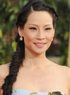 Golden Globes 2013: Lucy Lui fishtail braid
