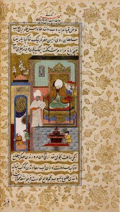 Dârüssaâde ağası Mehmed Ağa'nın Sultan III.Murad'a kitap sunması / Gencine-i Feth-i Gence