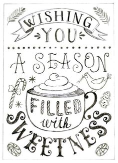 I love this Hand Lettering project created for Kate McDevitt's skillshare class - The First Steps Of Hand Lettering! A beautiful holiday/christmas card design. Learn hand lettering skills from a pro & claim 2 months FREE with Skillshare link Christmas Quotes, Christmas Art, Winter Christmas, Xmas, Christmas Doodles, Christmas Wishes, Christmas Sentiments, Christmas Sweets, Christmas Things