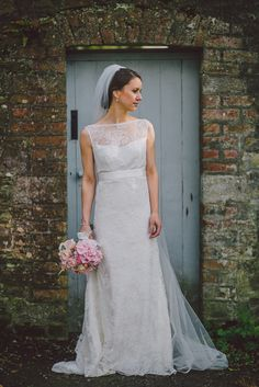 Louise wearing 'Freya' lace wedding dress by Johanna Hehir (www.johanna-hehir.com). Photo by Rubistyle.