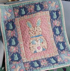 Buddy R. Bunny ~ Directions for wall quilt or x crib quilt - 3 bunny sizes for borders or doll quilts Applique Quilt Patterns, Animal Quilts, Doll Quilt, Crib, Bunny, Dolls, Animals, Crib Bedding, Baby Dolls