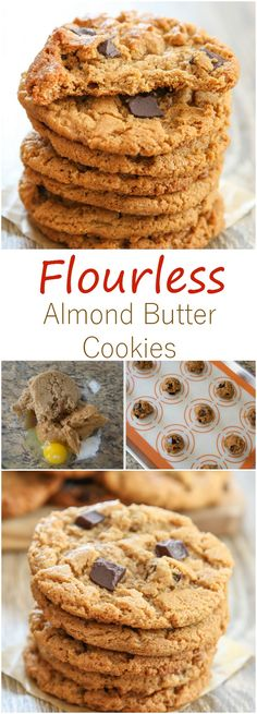 Flourless Almond Butter Cookies. Super chewy and just 5 ingredients!