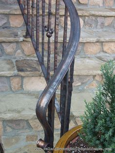 New York City NY New Jersey custom wrought iron railings Raleigh Wrought Iron Co. Love the curl. Wrought Iron Porch Railings, Porch Handrails, Exterior Stair Railing, Outdoor Stair Railing, Front Porch Railings, Iron Handrails, Wrought Iron Decor, Wrought Iron Fences, Metal Railings