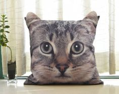 Pillow cover, cat cushion cover, cat pillow cover, cat portrait cushion cover, pet cushion cover, pillow cover, gift, CU-125