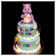 Purple Care Bear birthday cake! Tastries Bakery, Bakersfield CA