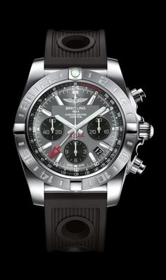 Chronomat 44 GMT Black Eye Gray on Rubber- Breitling - Instruments for Professionals