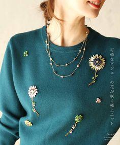 【楽天市場】【再入荷♪1月13日12時&22時より】(深緑)「french」可憐なビジューの花が咲く極上ニットトップス:cawaii