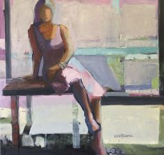 Table in the Window by Melinda Cootsona 46 x 48, oil on canvas, Abstract Figurative