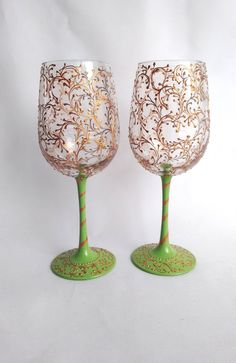Wine Glasses  Hand painted Wine Glasses Bronze and by HiMaria