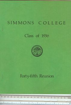 Genealogy Simmons College Class of 1936 Names and Addresses