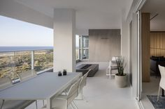 Contemporary apartment designed in 2018 by Tal Goldsmith Fish Design Studio, located in Netanya, Israel. Apartment Balcony Decorating, Apartment Balconies, Cozy Apartment, Apartment Interior Design, Apartment Ideas, Outdoor Seating Areas, Outdoor Spaces, Outdoor Lounge, Outdoor Dining