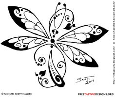 Tribal dragonfly tattoo design