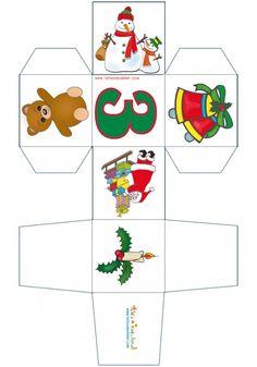 coloriage Imprimer un cube de Noël chiffre 3