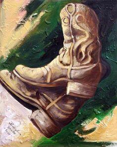 The boots tecnica olio su tela 40x50cm