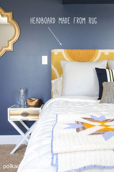 Navy + Gold Guest Bedroom Decorating Ideas on polkadotchair.com Shared by www.nwquiltingexpo.com @nwquiltingexpo #nwqe #interior #bedroom
