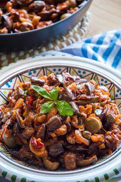 "Caponata Sicilian Eggplant Salad - Italian Recipe Book ""Italy food culture I. Italian Recipe Book, Italian Salad Recipes, Italian Appetizers, Italian Dishes, Appetizer Recipes, Italian Foods, Italian Vegetable Dishes, Italian Eggplant Recipes, Tuscan Recipes"