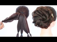 messy bun trick || messy updo for weddings || hair style girl || updo hairstyles || hairstyle - YouTube