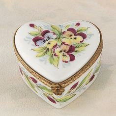 Limoges heart with pansies