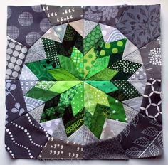 """Penny Lane block 12"""" -- modern scrap paper pieced star Link found on this site for pattern!"""
