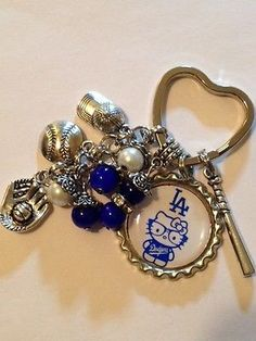 Los Angeles Dodgers Inspired Bottle Cap Keychain Handmade Dodgers Key Chain #3
