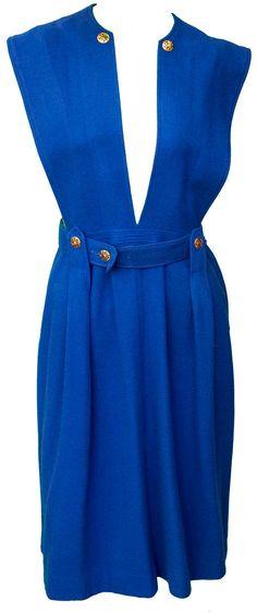 1950s Small Cobalt Blue Pinafore Pleated Skirt Overalls Dress Dolly Lolita Navy Kawaii Cosplay Cute School Girl Costume Uniform Fetish Anime