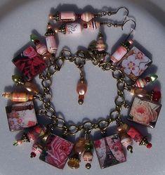 Paris Scrabble Tile and Paper Bead Bracelet. On the back it has Paris spelled out