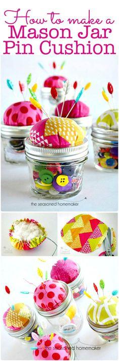 Mason Jar Pin Cushion - 240 Easy Craft Ideas to Make and Sell - Page 7 of 24 - DIY & Crafts