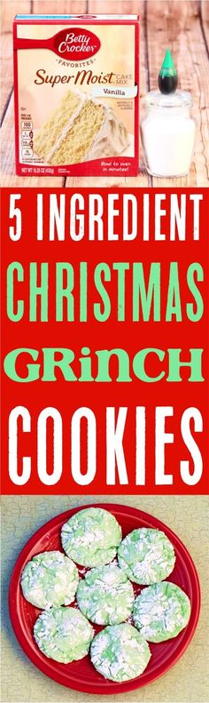 Green Grinch Crinkle Cookies Recipe!  The perfect festive cookie for Christmas or holiday dessert!